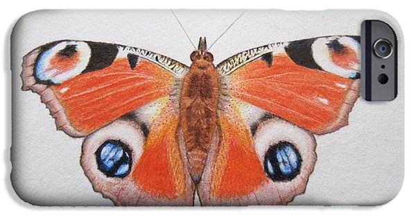 Insects Drawings iPhone Cases - Peacock Butterfly iPhone Case by Ele Grafton