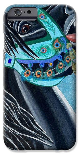 Carousel Horse Paintings iPhone Cases - Peacock Carousel Horse iPhone Case by Debbie LaFrance
