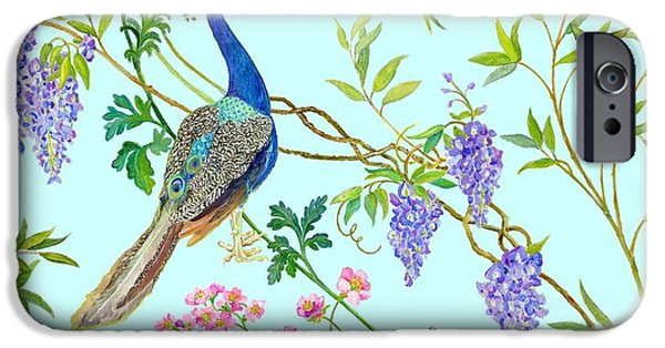 Flora Drawings iPhone Cases - Peacock Chinoiserie Surface fabric design iPhone Case by Kimberly McSparran