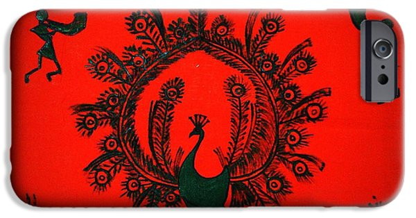 Hills Tapestries - Textiles iPhone Cases - Peacock Dance iPhone Case by Vineeth Menon