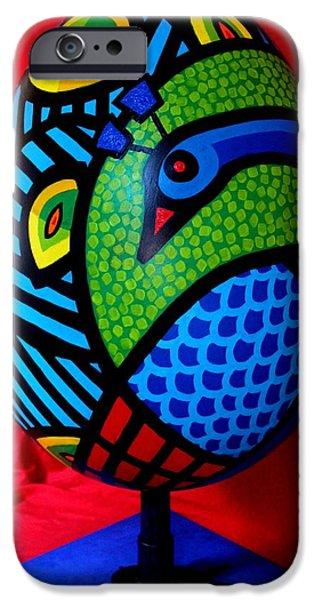Birds Sculptures iPhone Cases - Peacock Egg II  iPhone Case by John  Nolan