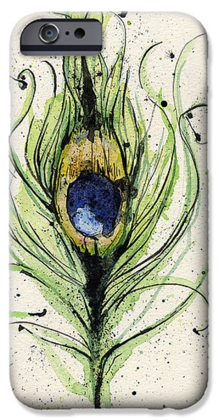 Decorative Art iPhone Cases - Peacock Feather iPhone Case by Mark M  Mellon