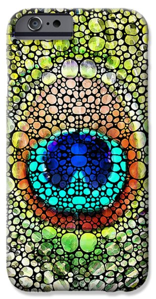 Pebbles iPhone Cases - Peacock Feather - Stone Rockd Art by Sharon Cummings iPhone Case by Sharon Cummings