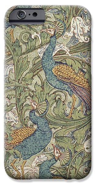 Design iPhone Cases - Peacock Garden Wallpaper, 1889 iPhone Case by Walter Crane