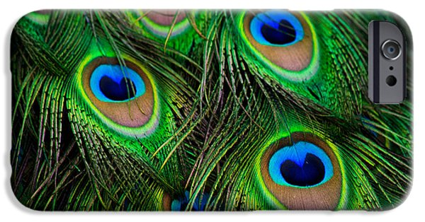 Explore Pyrography iPhone Cases - Peacock green and blue plumage close up iPhone Case by Michael Bennett