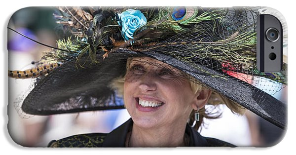 Kentucky Derby Photographs iPhone Cases - Peacock hat at 2014 Kentucky Derby  iPhone Case by John McGraw