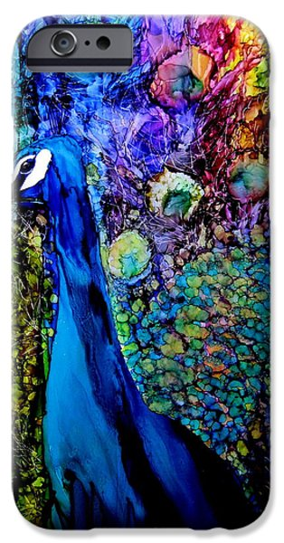 Birds iPhone Cases - Peacock II iPhone Case by Karen Walker