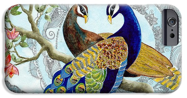 Peacock iPhone Cases - Peacock Love iPhone Case by Susy Soulies