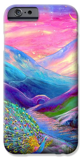 Sunset Paintings iPhone Cases - Peacock Magic iPhone Case by Jane Small