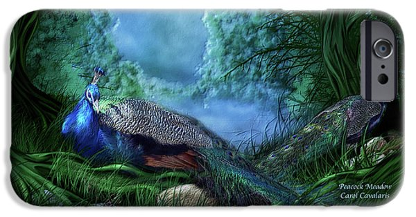 Animal Cards iPhone Cases - Peacock Meadow iPhone Case by Carol Cavalaris