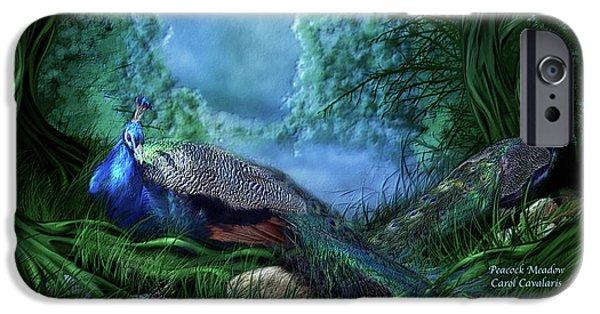 Peafowl iPhone Cases - Peacock Meadow iPhone Case by Carol Cavalaris