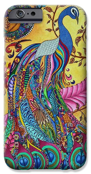 Colored Pencil Abstract Drawings iPhone Cases - Peacock iPhone Case by Rebeca Rambal