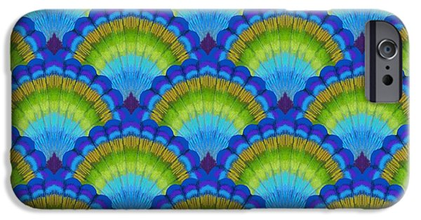 Peacock iPhone Cases - Peacock scallop feathers iPhone Case by Kimberly McSparran