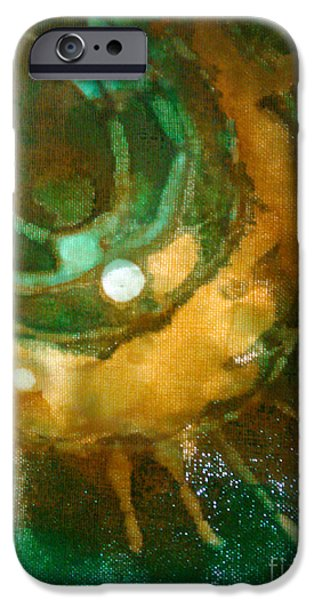 Pastel Tapestries - Textiles iPhone Cases - Searching for Teal 004 iPhone Case by Lori Russell
