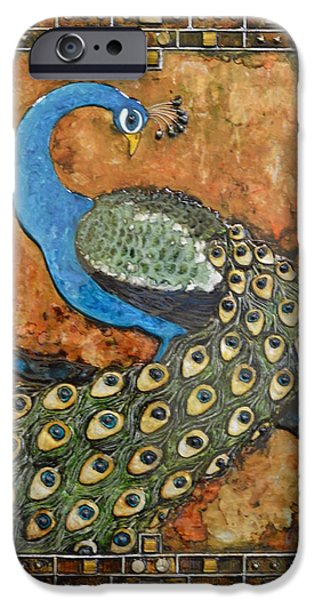Birds Reliefs iPhone Cases - Peacock iPhone Case by Stacy Medaries
