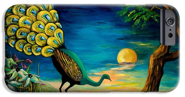 Eerie Paintings iPhone Cases - Peacock Strolls on the Beach iPhone Case by Larry Martin