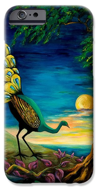 Peacock Strolls on the Beach iPhone Case by Larry Martin