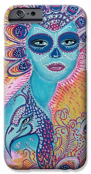 Mardi Gras Paintings iPhone Cases - Peacock Sugar Skull iPhone Case by Laura Barbosa