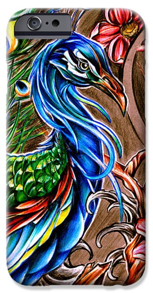 Cherry Blossoms Drawings iPhone Cases - Peacock Summer iPhone Case by K Marie Travers