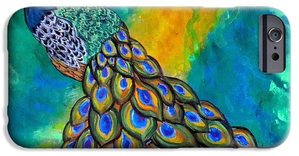 Contemporary Abstract iPhone Cases - Peacock Waltz II iPhone Case by Ella Kaye Dickey