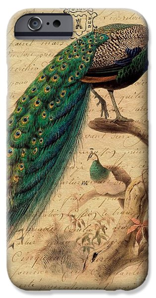 Becky Digital iPhone Cases - Peacock With French Letter iPhone Case by Becky Hayes