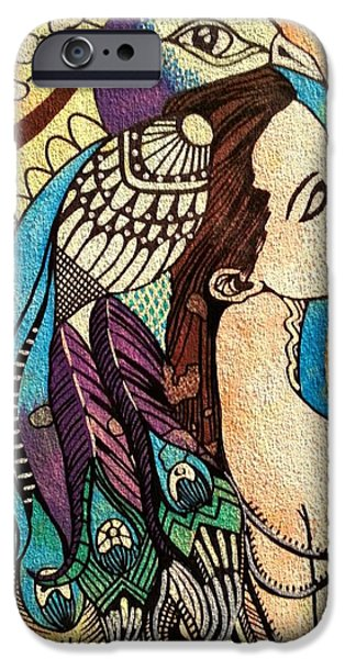 Amy Sorrell iPhone Cases - Peacock Woman iPhone Case by Amy Sorrell