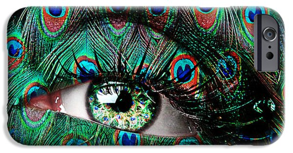 Looking Digital Art iPhone Cases - Peacock iPhone Case by Yosi Cupano