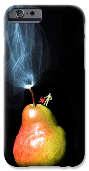 Recently Sold -  - Small iPhone Cases - Pear And Smoke little people on food iPhone Case by Paul Ge