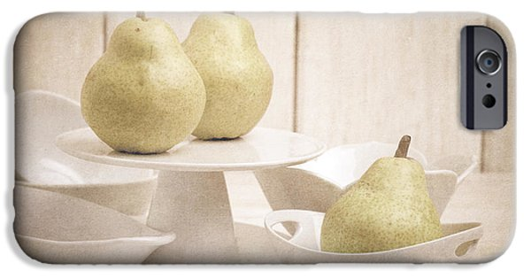 Pears iPhone Cases - Pear Still Life with White Plates iPhone Case by Edward Fielding