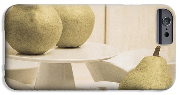 Pears iPhone Cases - Pear still life with white plates square format iPhone Case by Edward Fielding
