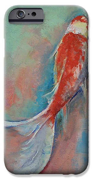 Pearls iPhone Cases - Pearl Banded Koi iPhone Case by Michael Creese