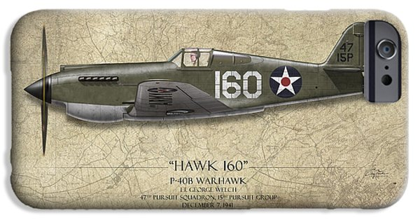 Warhawk iPhone Cases - Pearl Harbor P-40 Warhawk - Map Background iPhone Case by Craig Tinder