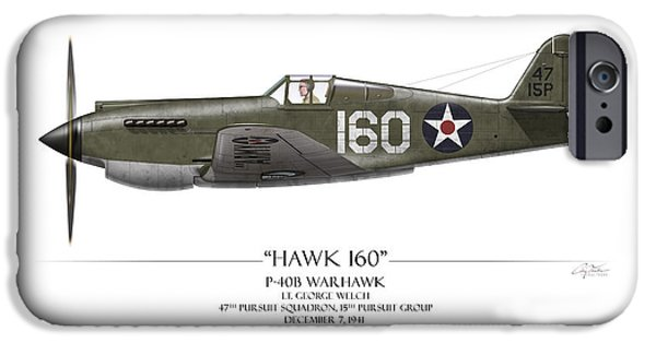Warhawk iPhone Cases - Pearl Harbor P-40 Warhawk - White Background iPhone Case by Craig Tinder