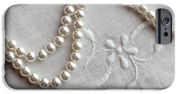 White Jewelry iPhone Cases - Pearls and Old Linen iPhone Case by Barbara Griffin