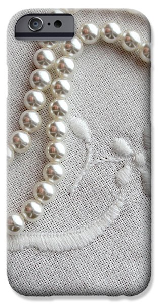 Pearls and Old Linen iPhone Case by Barbara Griffin