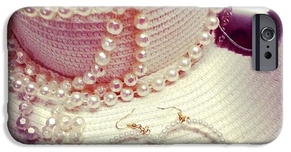 Vintage Jewelry iPhone Cases - Pearls n Vintage iPhone Case by Theano Exadaktylou