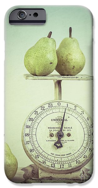 Pears iPhone Cases - Pears and Kitchen Scale Still Life iPhone Case by Edward Fielding