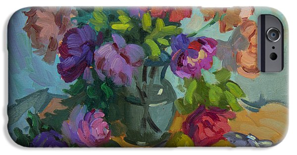 Pears iPhone Cases - Pears and Roses iPhone Case by Diane McClary