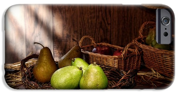 Farm Stand iPhone Cases - Pears at the Old Farm Market iPhone Case by Olivier Le Queinec