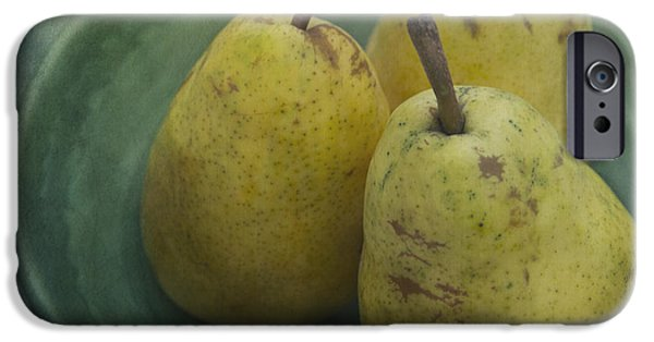 Pear iPhone Cases - Pears In A Square iPhone Case by Priska Wettstein