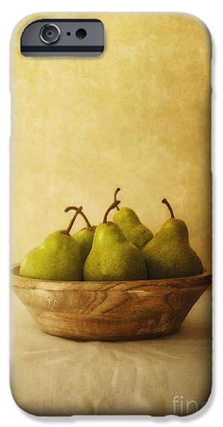 Table Top iPhone Cases - Pears In A Wooden Bowl iPhone Case by Priska Wettstein