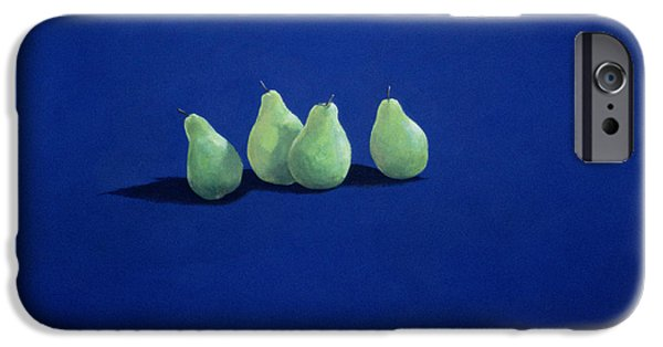 Pears iPhone Cases - Pears On A Blue Cloth iPhone Case by Lincoln Seligman
