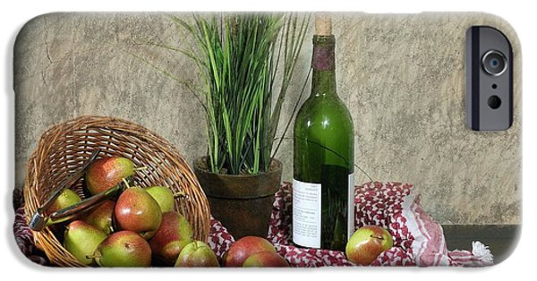 Table Wine Digital iPhone Cases - Pears on Red Cloth iPhone Case by Diana Angstadt