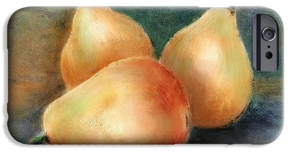Pears Mixed Media iPhone Cases - Pears Still Life iPhone Case by Colleen Taylor