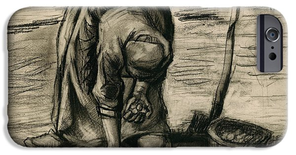 Character Study iPhone Cases - Peasant Woman Planting Potatoes iPhone Case by Vincent Van Gogh