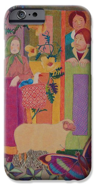 Montage Drawings iPhone Cases - Peasants And Sheep iPhone Case by Nancy Wayland