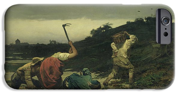 Agriculture iPhone Cases - Peasants Harvesting Potatoes During The Flood Of The Rhine In 1852 Oil On Canvas iPhone Case by Gustave Brion