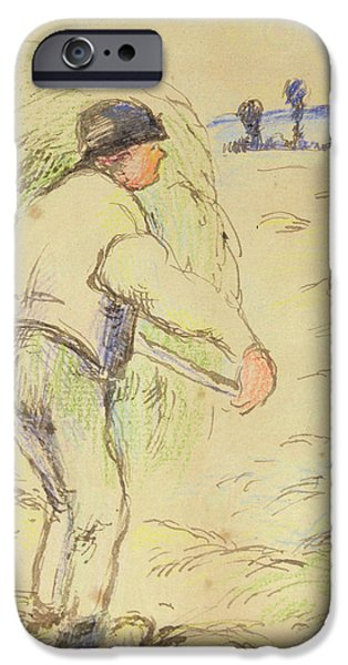 Crops Drawings iPhone Cases - Peasants Haymaking iPhone Case by Camille Pissarro