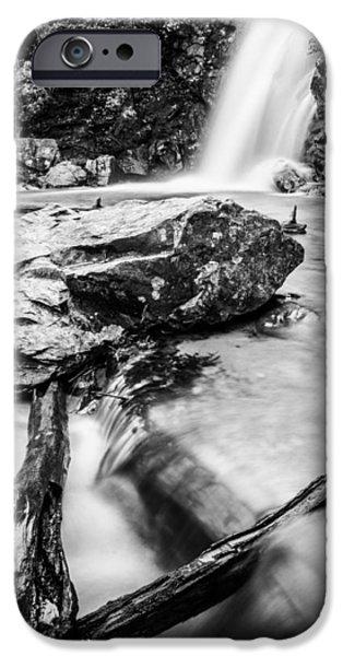 Oak Creek iPhone Cases - Peavine Falls in Monochrome iPhone Case by Parker Cunningham