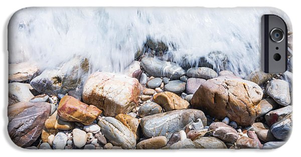 Abstract Seascape Photographs iPhone Cases - Pebble Beach iPhone Case by Atiketta Sangasaeng
